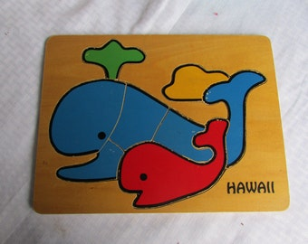 Vintage Hawaii Mommy and Baby Whale Puzzle