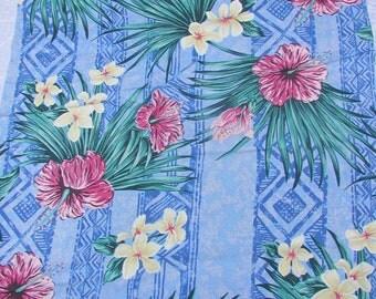 Three Great Hawaiian Hibiscus Fabric Remnants