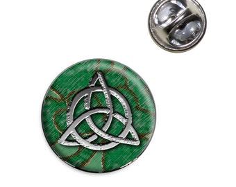 Celtic Trinity Circle Green Clovers Lapel Hat Tie Pin Tack