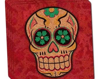 Sugar Skull Thin Cork Coaster Set Of 4