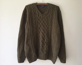90's olive green fisherman style sweater