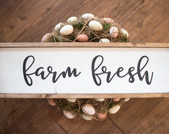 Farm Fresh hand lettered large wood frame sign
