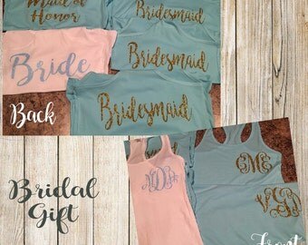 Monogram racerback tank tops for Bridal party.  Bride, Bridesmaid, Maid of Honor. Gifts for bridal party.