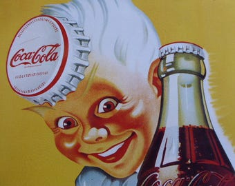 Metal Publicity Sign, Embossed Advertising Panel, Coca Cola, Vintage Tin Advert 0417008-111