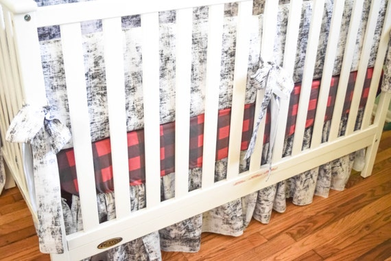 Plaid baby bedding nursery items choose from multiple for Mountain crib bedding