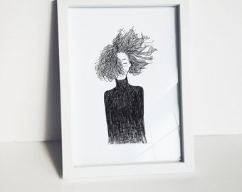 Blowing Curly Hair Series 001, Figure Drawing Print, City Girl, Curly illustration, drawing, ink