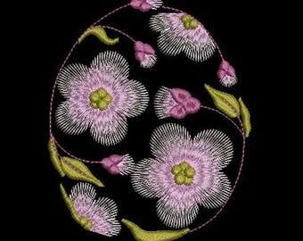 E001 Easter egg flowers - Machine Embroidery Design, two sizes, 4х4, 5х7