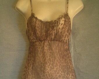 Camisole Leopard Print Chiffon Mesh