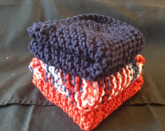 Knitted Dishcloths set of 3 - Red/Navy/Nautical