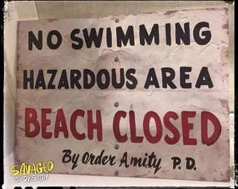 JAWS - BEACH CLOSED Sign