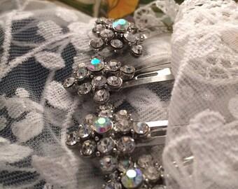 Four Swarovski Crystal Hair Combs Hair Jewelry