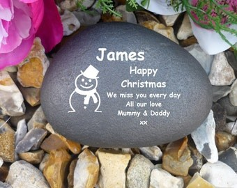 Pebble - Personalised - Memorial - Weatherproof (Stone effect)- Christmas Snowman Design