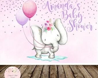 Digital Elephant Baby Shower Backdrop, Elephant Sweet Table Backdrop, Jungle Baby Shower, Girl Birthday, Elephant Birthday Backdrop