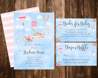 Hot Air Balloon Invitation, Up Up And Away Baby Shower, Hot Air Balloon Baby Shower, Books for Baby, Diaper Raffle, Oh the Places you'll go