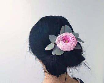 floral hair clip pink ranunculus hair clip, bridal hair clip, hair clip for brides wedding hair clip floral headpiece, flower girl hair