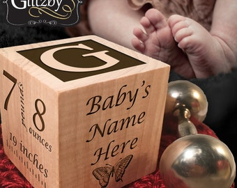 Personalized Wooden Baptism Christening Block Custom Baby Blocks