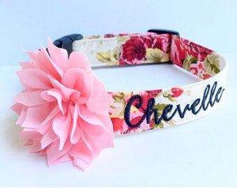 Dog Collar, Embroidered Dog Collar, Personalized Dog Collar, Floral Dog Collar, Collar, rose Collar, flower dog collar