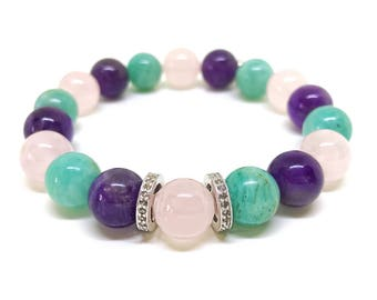 Turquosie, purple, pink gemstone and real 0,44 carat pave diamond bracelet