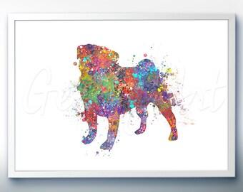 Pug Watercolor Art Print - Home Living - Animal Painting - Dog Poster - Wall Decor - Home Decor - House Warming Gift