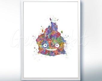 Howl's Moving Castle Calcifer Fire Demon Studio Ghibli Watercolor Poster Print - Watercolor Art - Home Decor - Kids Decor - Nursery Decor