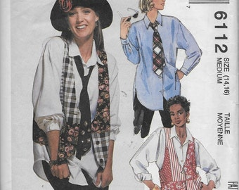 Misses' Shirt,Vest, and Necktie Loose Fitting Shirt and Vest Dropped Shoulders,McCalls 6112-Dated 1992-CUT Size Medium