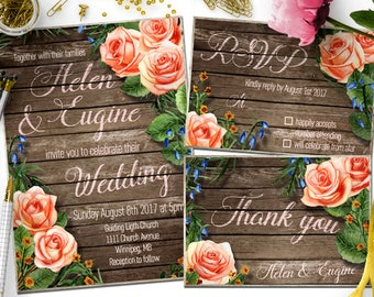 Floral Wedding Invitation Printable Rustic Wedding Invitation Suite Wedding invites rustic diy Rustic wedding invitation set Wedding RSVP