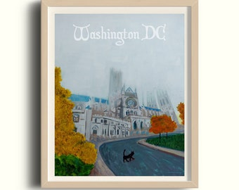 National Cathedral - Postcards from Washington DC - DC illustration, see America, church present, Holiday gift, house warming, christian cat