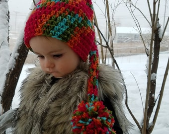 Rainbow Colored Crocheted Stocking Hat