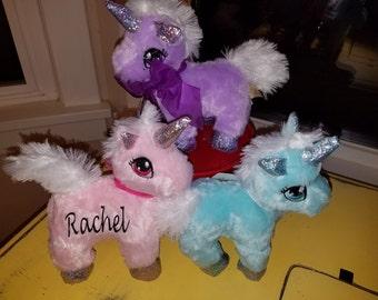 Unicorn, Stuffed Animal, Teal, Personalized