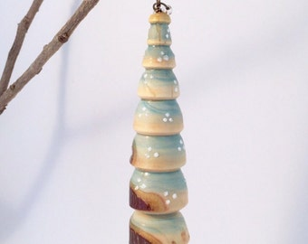 Ornament -  Turned Wood  - Christmas Tree - Dotted - Rustic