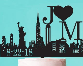 New York Skyline Personalized Wedding Cake (PPD-JM2727280)
