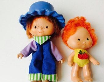 Vintage 1979 Strawberry Shortcake Dolls Apple Dumplin' And Huckleberry Pie/Strawberry Shortcake Dolls/Vintage Strawberry Shortcake Dolls