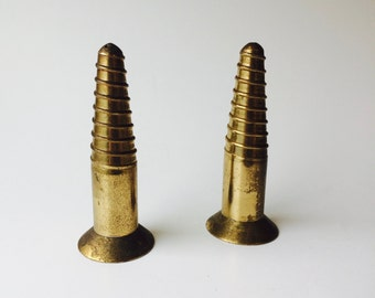 Vintage Brass Salt & Pepper Shakers/Brass Home Decor/Brass Kitchen Decor/Salt And Pepper Shakers