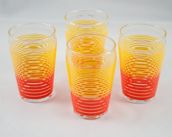 Vintage Libbey Glass yellow and red line Design Glasses Set of 4