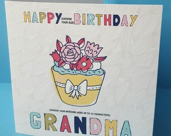 Cupcake Personalised Birthday Card Daughter, Sister, Niece, Goddaughter, Grandaughter, Aunty,  Best Friend, Aunty. Age of choice