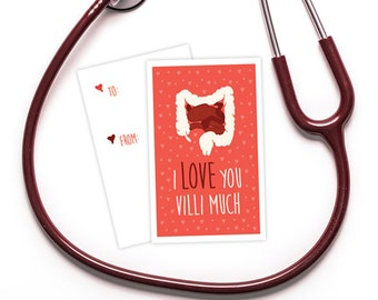 "Funny Valentine's Day Card  - Medical Themed - Download - ""I Love You Villi Much"" - Great for doctors, med students, nurses, hospitals, etc."