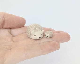 Hedgehog pair figurines - champagne polymer clay miniature animals