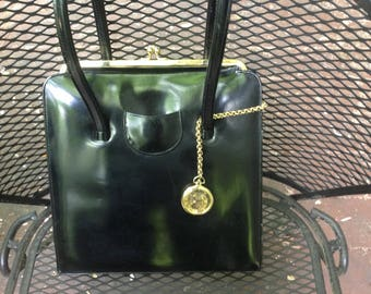 Vintage Anya Hindmarch designer black leather purse with pocket watch