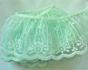 Ruffle Lace Trim 2 inch wide mint  color price per yard