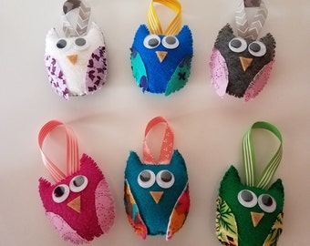 Hand sewn Owl Ornaments (Set of 6)
