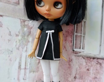Blythe dress,black with white detail for Blythe doll or similar bodies