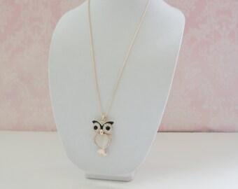 OWL RHINESTONE necklace, Cute Necklace, owl pendant, rhinestone necklace, pendant for woman,