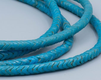 "African Trade Beads - 80 Turquoise Snake Beads glass tradebeads 6mm 21"" Stand Jewelry Supplies"