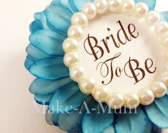 Hand-dyed Bridal Shower Corsage, Bridal shower favors, wedding gift,Bride to be,TEAL/PEARL BTB