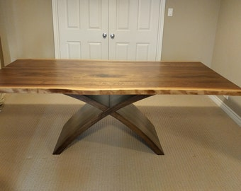 Black Walnut Live Edge Table with X Pedestal Base, Live Edge Furniture