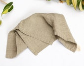 two linen washcloths / flax washcloth / natural and unprocessed / made in usa