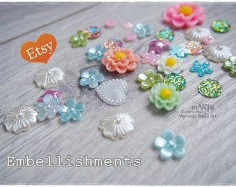 Set of 35 Mixed Resin Flowers, cabochon, scrapbooking embellishments, cardmaking, for cards, plastic flowers, rhinestones, Spring Set