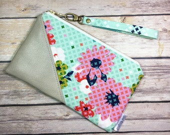 Date Night Clutch, Faux Leather Fabric Wristlet, Floral Wristlet, Zipper Pouch, Mothers Day, Rose Fabric, Bridesmaid Gift