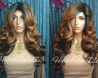 Honey Blonde To Brown Rooted Reverse Ombre Human Hair Blend Lace Front Wig