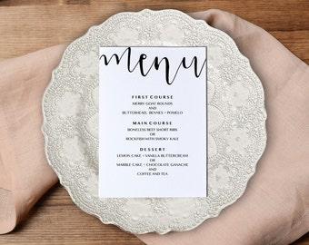 Wedding Menu Template, Printable Wedding Menu, Calligraphy Wedding Menu, Hand Script, Instant Download, Adobe PDF, Modern, PPS08